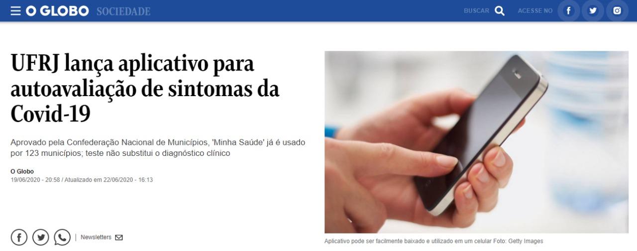 Notícia O Globo App Autodiagnóstico Covid
